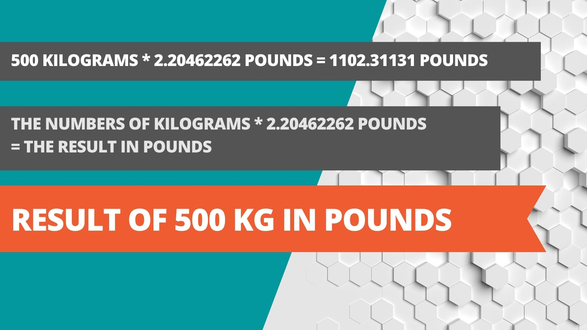 Result of 500 kg in pounds